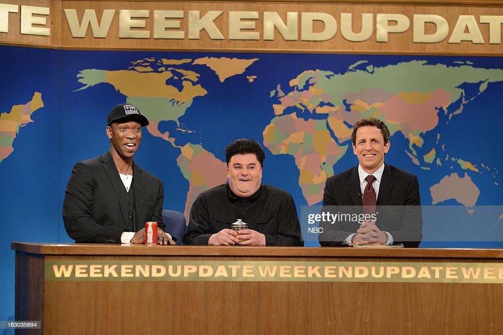 LIVE -- 'Kevin Hart' Episode 1635 -- Pictured: (l-r) Jay Pharoah, Bobby Moynihan, Seth Meyers --