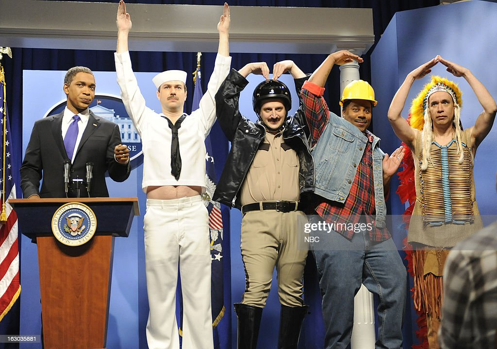 LIVE -- 'Kevin Hart' Episode 1635 -- Pictured: (l-r) Jay Pharoah, Taran Killam, Tim Robinson, Kenan Thompson, Fred Armisen --