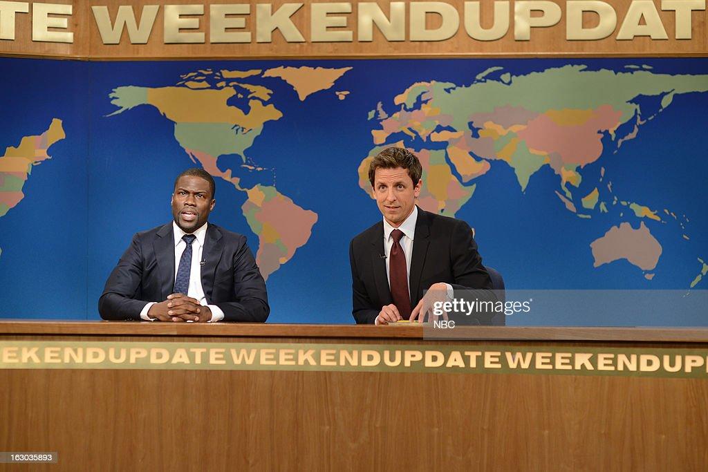 LIVE -- 'Kevin Hart' Episode 1635 -- Pictured: (l-r) Kevin Hart, Seth Meyers --