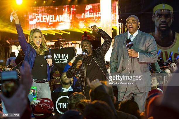 Kevin Hart introduces Kendrick Lamar with Kristen Ledlow and Charles Barkley during the Cleveland Cavaliers Turner Sports Home Opener Fan Fest on...