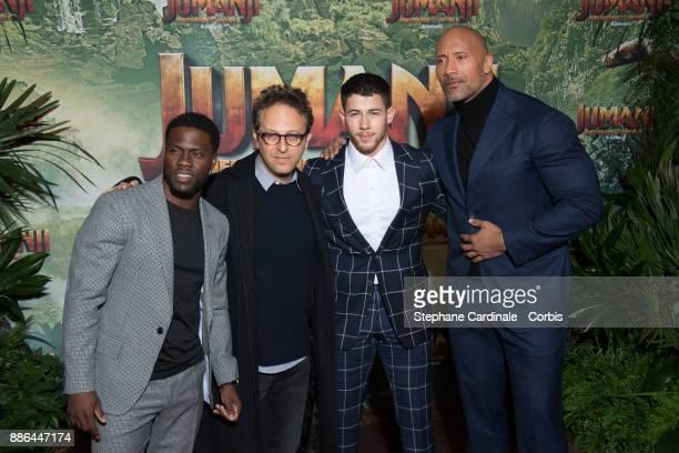 Kevin Hart Jake Kasdan Nick Jonas and Dwayne Johnson attend the 'Jumanji' Welcome to the Jungle Jumanji Bienvenue dans la jungle' Paris Premiere at...