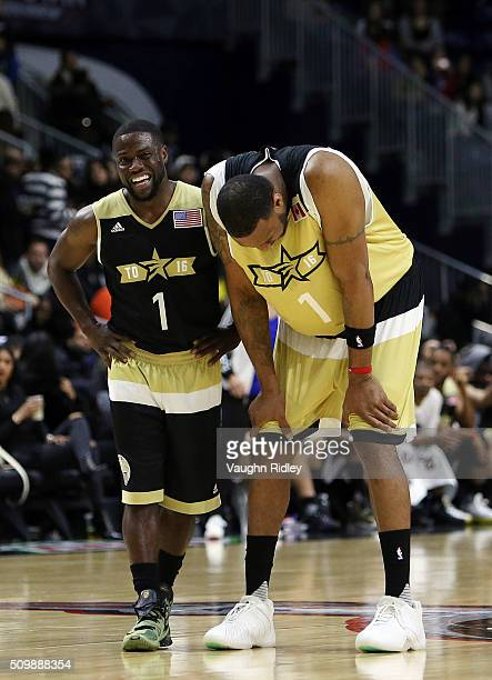 Kevin Hart of Team USA and Tracy McGrady of Team Canada share a joke during the NBA AllStar Celebrity Game at the Ricoh Coliseum on February 12 2016...