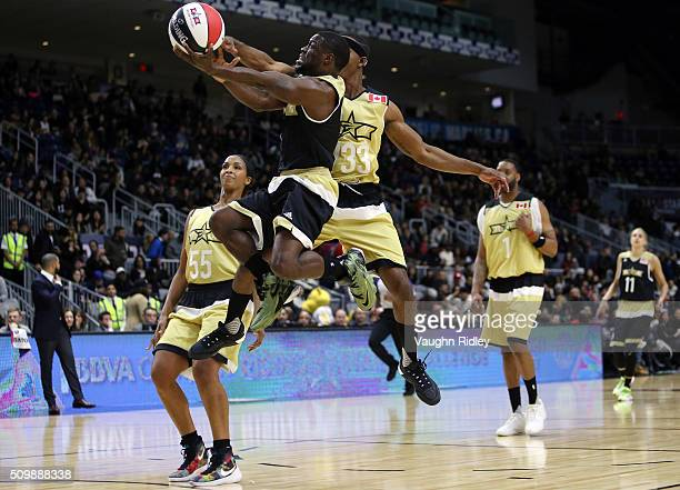Kevin Hart of Team USA shoots as Stephan James of Team Canada defends during the NBA AllStar Celebrity Game at the Ricoh Coliseum on February 12 2016...