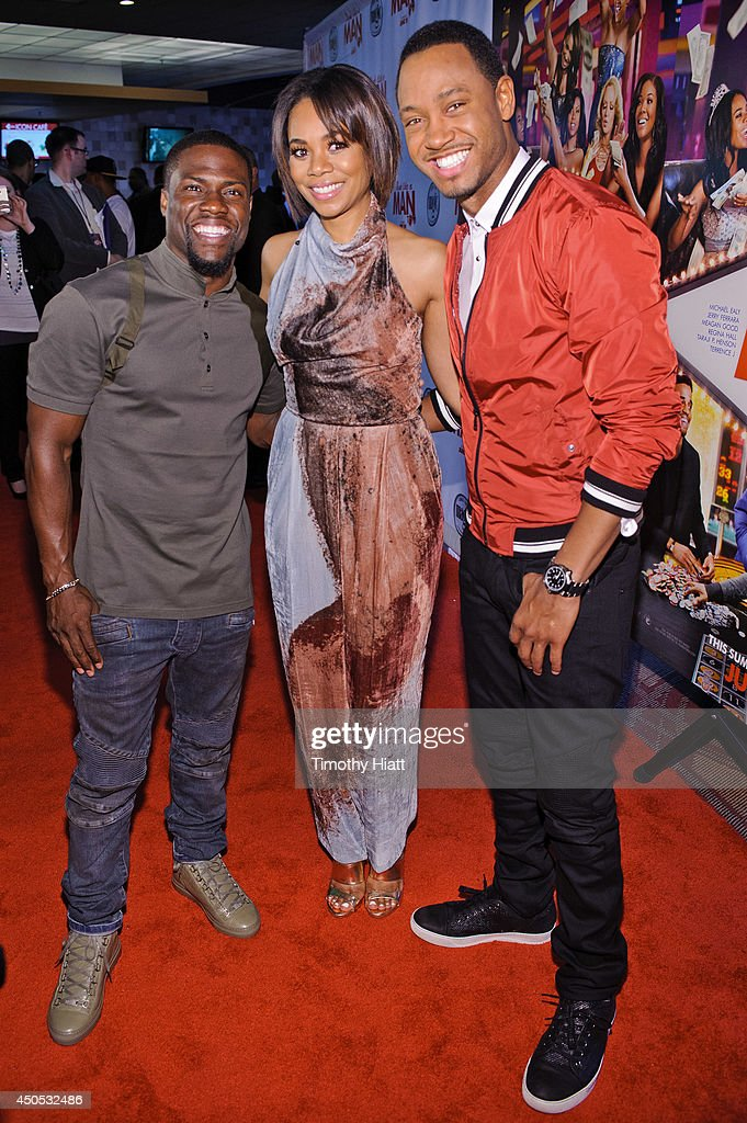 Kevin Hart, <a gi-track='captionPersonalityLinkClicked' href=/galleries/search?phrase=Regina+Hall&family=editorial&specificpeople=4509171 ng-click='$event.stopPropagation()'>Regina Hall</a>, and <a gi-track='captionPersonalityLinkClicked' href=/galleries/search?phrase=Terrence+J&family=editorial&specificpeople=4419581 ng-click='$event.stopPropagation()'>Terrence J</a> attend a screening of 'Think Like A Man Too' at the Showplace Icon Theater on June 12, 2014 in Chicago, Illinois.