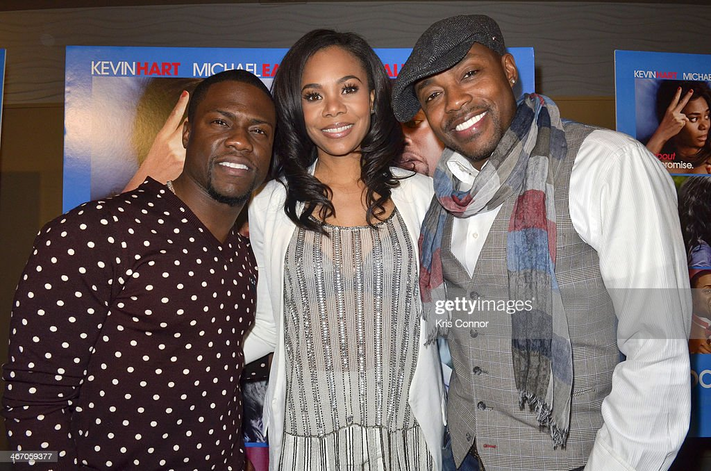Kevin Hart, <a gi-track='captionPersonalityLinkClicked' href=/galleries/search?phrase=Regina+Hall&family=editorial&specificpeople=4509171 ng-click='$event.stopPropagation()'>Regina Hall</a> and Will Parker walk the red carpet and speak with members of the press during the Washington DC screening of 'About Last Night' at AMC Mazza Gallerie 14 on February 5, 2014 in Washington, DC.