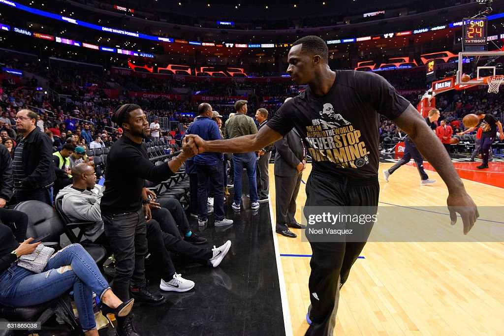 Kevin Hart talks to Brandon Bass at a basketball game between the Oklahoma City Thunder and the Los Angeles Clippers at Staples Center on January 16, 2017 in Los Angeles, California.