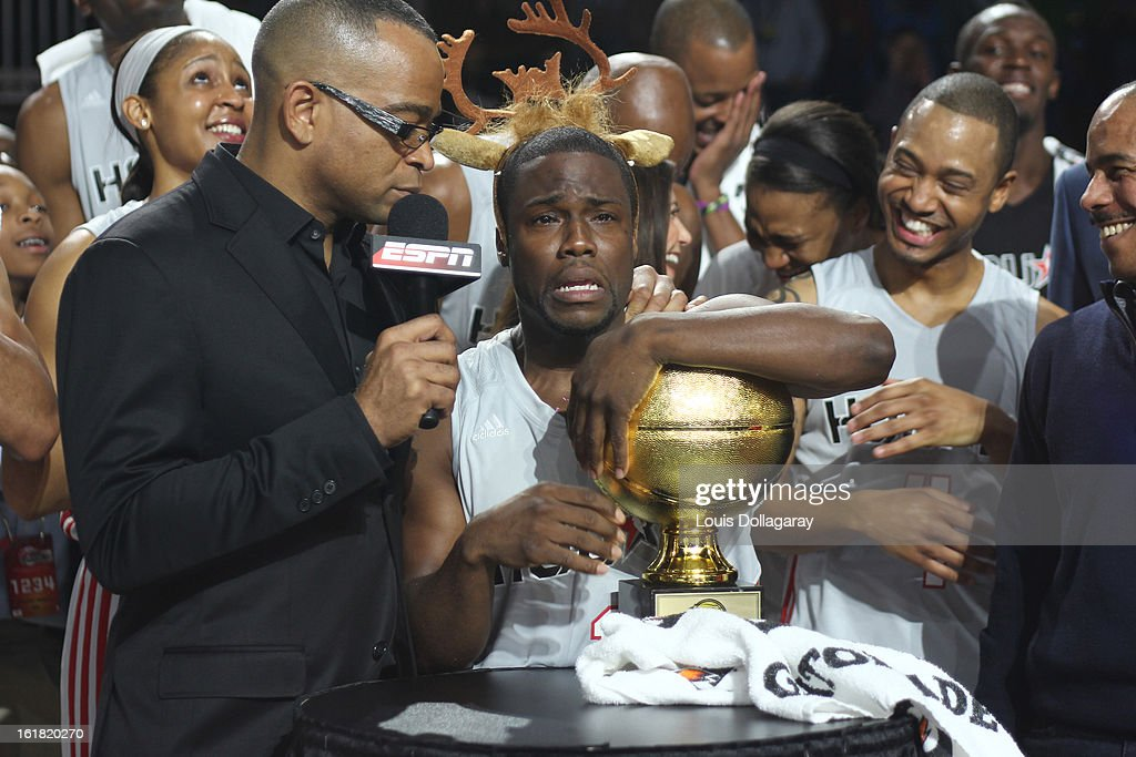 <a gi-track='captionPersonalityLinkClicked' href=/galleries/search?phrase=Kevin+Hart+-+Actor&family=editorial&specificpeople=4538838 ng-click='$event.stopPropagation()'>Kevin Hart</a> wins the MVP award during the 2013 NBA All-Star Celebrity Game at George R. Brown Convention Center on February 15, 2013 in Houston, Texas.