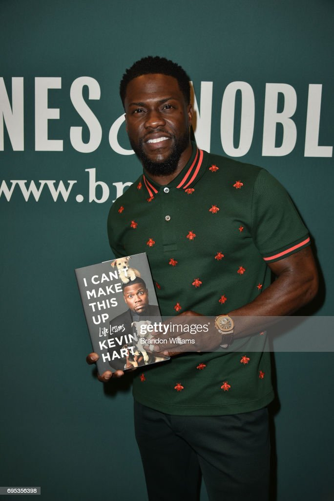 Kevin Hart with his book 'I Can't Make This Up: Life Lessons' at an appearance at Barnes & Noble at The Grove on June 12, 2017 in Los Angeles, California.