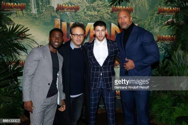 Kevin HartJake Kasdan Nick Jonas and Dwayne Johnson attend the 'Jumanji Welcome to the Jungle Jumanji Bienvenue dans la jungle' Paris Premiere at Le...