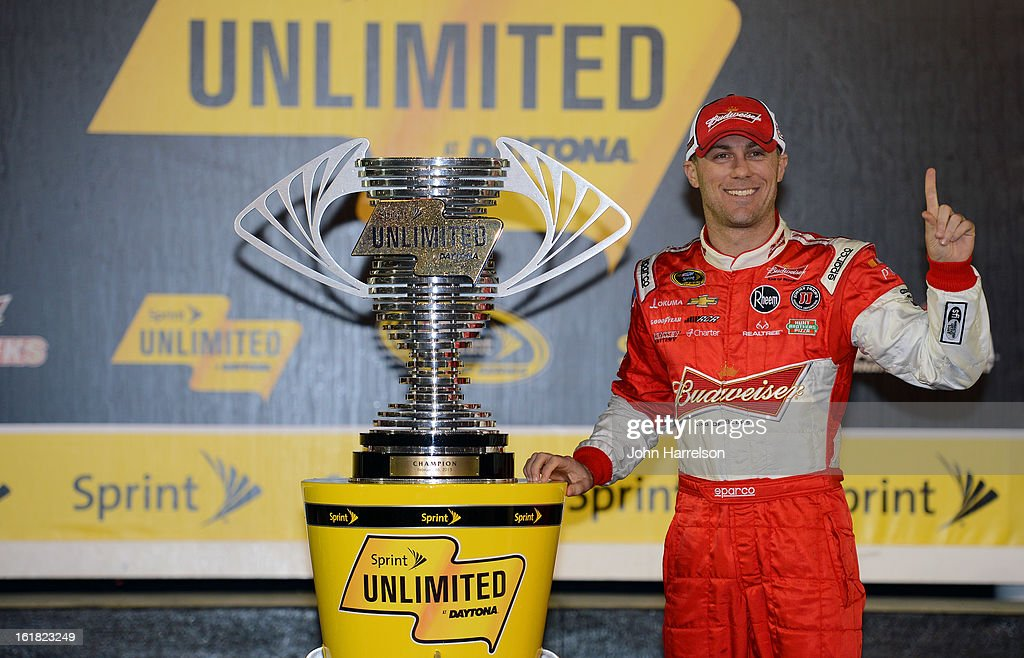 <a gi-track='captionPersonalityLinkClicked' href=/galleries/search?phrase=Kevin+Harvick&family=editorial&specificpeople=209186 ng-click='$event.stopPropagation()'>Kevin Harvick</a>, driver of the #29 Budweiser Chevrolet, celebrates with the trophy in victory lane after winning the NASCAR Sprint Cup Series Sprint Unlimited at Daytona International Speedway on February 16, 2013 in Daytona Beach, Florida.