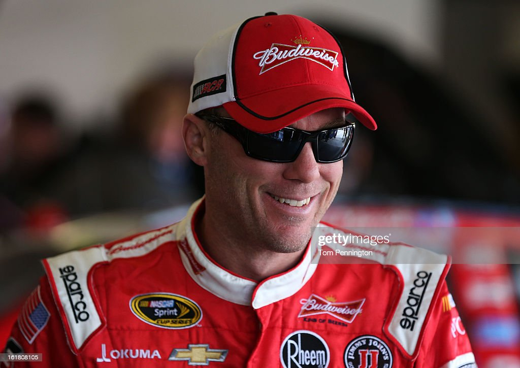 <a gi-track='captionPersonalityLinkClicked' href=/galleries/search?phrase=Kevin+Harvick&family=editorial&specificpeople=209186 ng-click='$event.stopPropagation()'>Kevin Harvick</a>, driver of the #29 Budweiser Chevrolet, during practice for the NASCAR Sprint Cup Series Daytona 500 at Daytona International Speedway on February 16, 2013 in Daytona Beach, Florida.