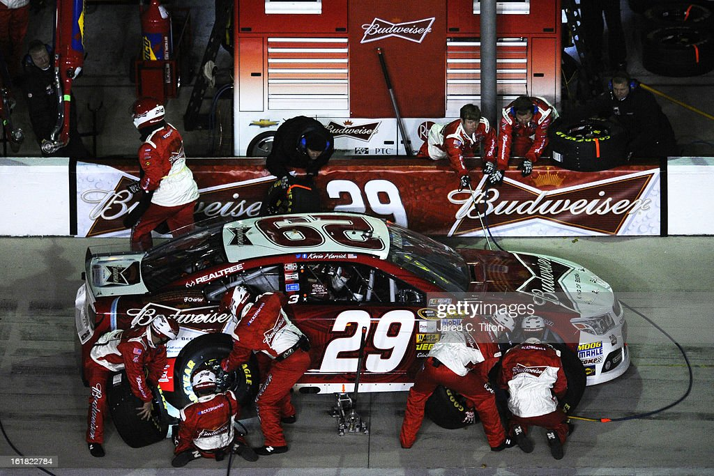 Kevin Harvick, driver of the #29 Budweiser Chevrolet, pits during the NASCAR Sprint Cup Series Sprint Unlimited at Daytona International Speedway on February 16, 2013 in Daytona Beach, Florida.