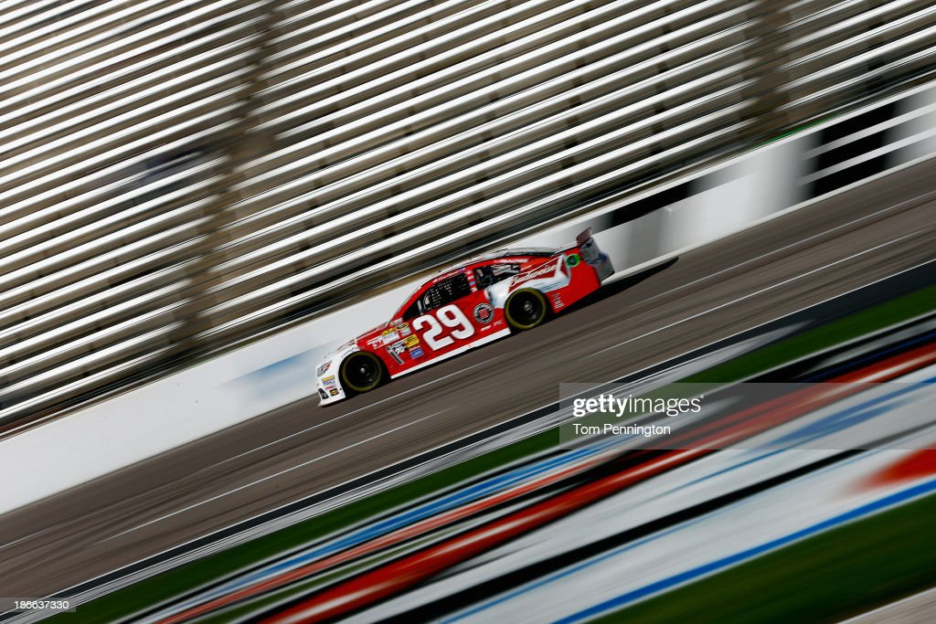 <a gi-track='captionPersonalityLinkClicked' href=/galleries/search?phrase=Kevin+Harvick&family=editorial&specificpeople=209186 ng-click='$event.stopPropagation()'>Kevin Harvick</a>, driver of the #29 Budweiser Chevrolet, practices for the NASCAR Sprint Cup Series AAA Texas 500 at Texas Motor Speedway on November 2, 2013 in Fort Worth, Texas.