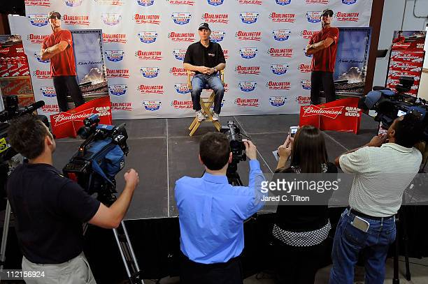 Kevin Harvick driver of the Budweiser Chevrolet speaks with the media following a meet and greet at Crown Beverage on April 13 2011 in Florence South...