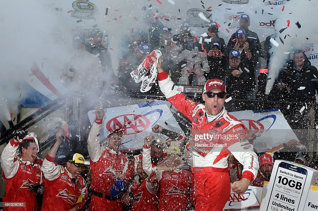 <a gi-track='captionPersonalityLinkClicked' href=/galleries/search?phrase=Kevin+Harvick&family=editorial&specificpeople=209186 ng-click='$event.stopPropagation()'>Kevin Harvick</a>, driver of the #4 Budweiser/Jimmy John's Chevrolet, celebrates in victory lane after winning the NASCAR Sprint Cup Series AAA 400 at Dover International Speedway on October 4, 2015 in Dover, Delaware.