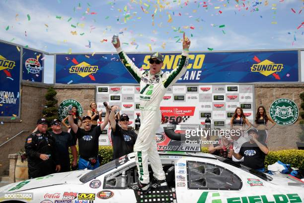 Kevin Harvick driver of the Fields Ford celebrates winning the NASCAR KN Pro Series West Carneros 200 at Sonoma Raceway on June 24 2017 in Sonoma...
