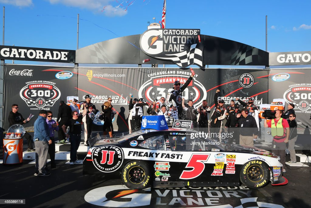 <a gi-track='captionPersonalityLinkClicked' href=/galleries/search?phrase=Kevin+Harvick&family=editorial&specificpeople=209186 ng-click='$event.stopPropagation()'>Kevin Harvick</a>, driver of the #5 Jimmy John's Chevrolet, celebrates in victory lane after winning the NASCAR Nationwide Series Jimmy John's Freaky Fast 300 at Chicagoland Speedway on September 13, 2014 in Joliet, Illinois.