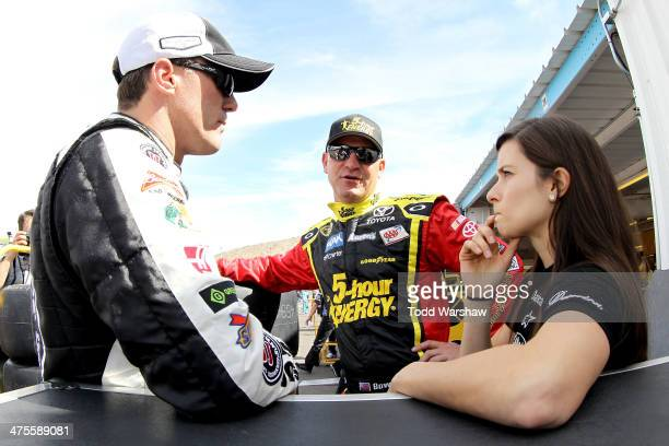 Kevin Harvick driver of the Jimmy John's Chevrolet Clint Bowyer driver of the 5hour ENERGY Toyota and Danica Patrick driver of the GoDaddy Chevrolet...
