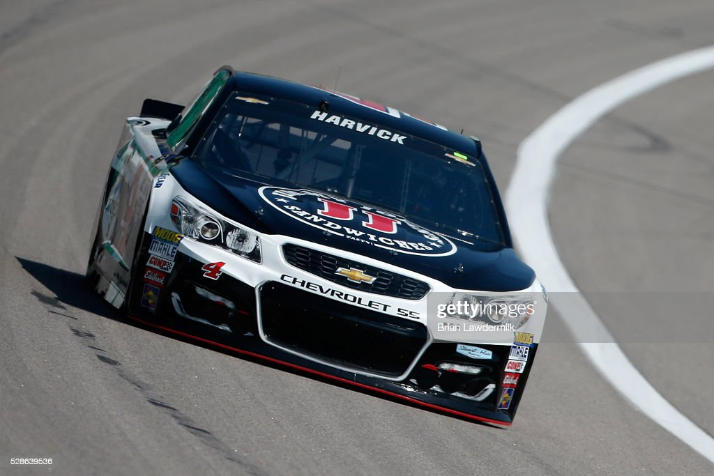 Kevin Harvick, driver of the #4 Jimmy John's Chevrolet, drives during practice for the NASCAR Sprint Cup Series Go Bowling 400 at Kansas Speedway on May 6, 2016 in Kansas City, Kansas.