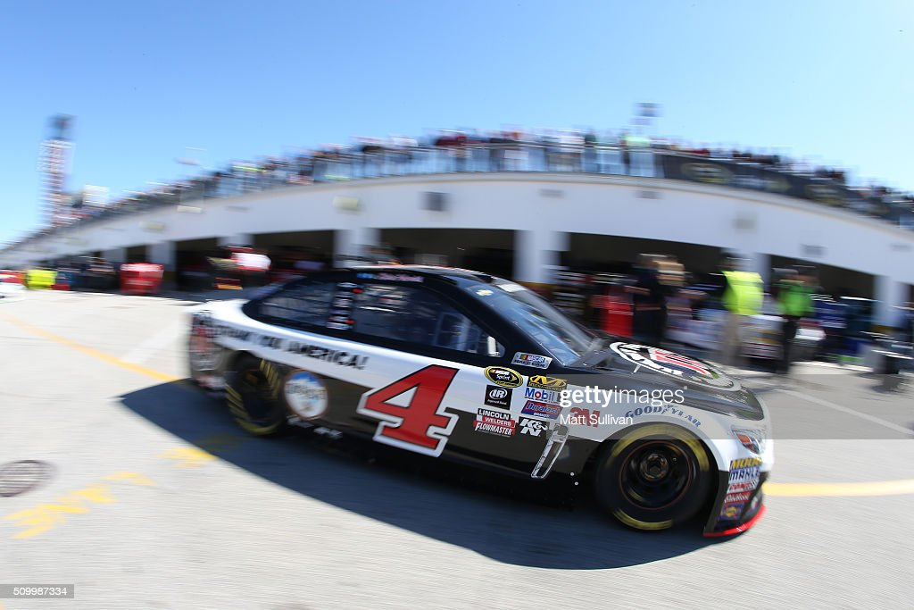 Kevin Harvick, driver of the #4 Jimmy John's Chevrolet, drives through the garage area during practice for the NASCAR Sprint Cup Series Daytona 500 at Daytona International Speedway on February 13, 2016 in Daytona Beach, Florida.