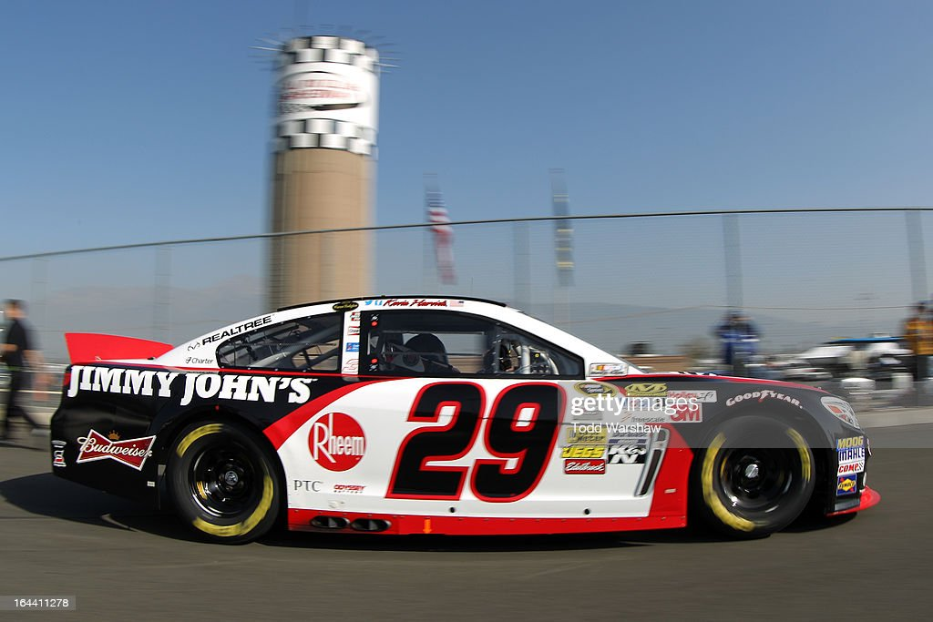 Kevin Harvick, driver of the #29 Jimmy John's Chevrolet, drives to the garage area during practice for the NASCAR Sprint Cup Series Auto Club 400 at Auto Club Speedway on March 23, 2013 in Fontana, California.