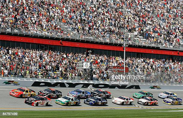 Kevin Harvick driver of the Jimmy John's Chevrolet leads the field to the green flag to start the NASCAR Nationwide Series Camping World 300 at...