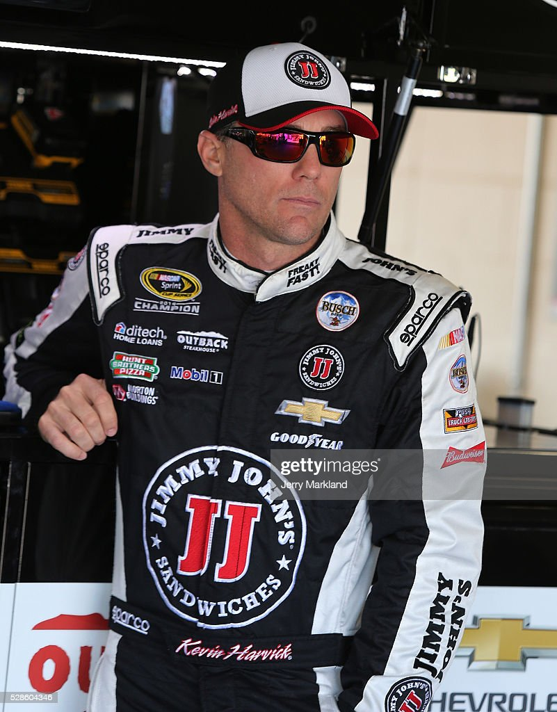 Kevin Harvick, driver of the #4 Jimmy John's Chevrolet, looks on during practice for the NASCAR Sprint Cup Series Go Bowling 400 at Kansas Speedway on May 6, 2016 in Kansas City, Kansas.