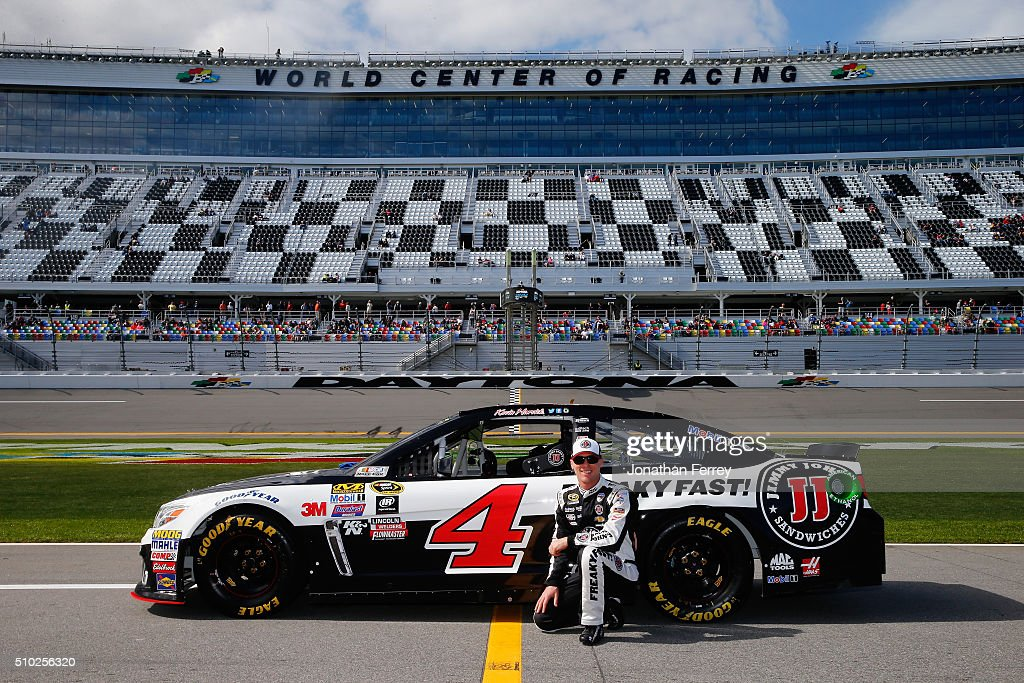 <a gi-track='captionPersonalityLinkClicked' href=/galleries/search?phrase=Kevin+Harvick&family=editorial&specificpeople=209186 ng-click='$event.stopPropagation()'>Kevin Harvick</a>, driver of the #4 Jimmy John's Chevrolet, poses with his car after qualifying for the NASCAR Sprint Cup Series Daytona 500 at Daytona International Speedway on February 14, 2016 in Daytona Beach, Florida.
