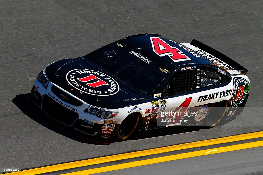 <a gi-track='captionPersonalityLinkClicked' href=/galleries/search?phrase=Kevin+Harvick&family=editorial&specificpeople=209186 ng-click='$event.stopPropagation()'>Kevin Harvick</a>, driver of the #4 Jimmy John's Chevrolet, practices for the NASCAR Sprint Cup Series Daytona 500 at Daytona International Speedway on February 13, 2016 in Daytona Beach, Florida.