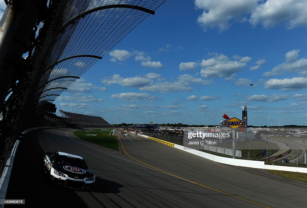 Kevin Harvick, driver of the #4 Jimmy John's Chevrolet, qualifies for the NASCAR Sprint Cup Series Pure Michigan 400 at Michigan International Speedway on August 15, 2014 in Brooklyn, Michigan.