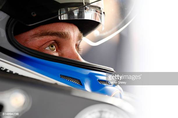 Kevin Harvick driver of the Jimmy John's Chevrolet sits in his car during qualifying for the NASCAR Sprint Cup Series Good Sam 500 at Phoenix...
