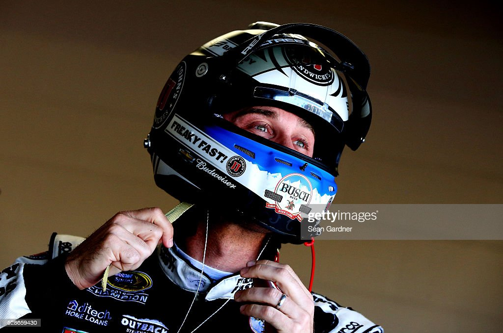 Kevin Harvick, driver of the #4 Jimmy John's Chevrolet, sits in his car during practice for the NASCAR Sprint Cup Series Go Bowling 400 at Kansas Speedway on May 6, 2016 in Kansas City, Kansas.