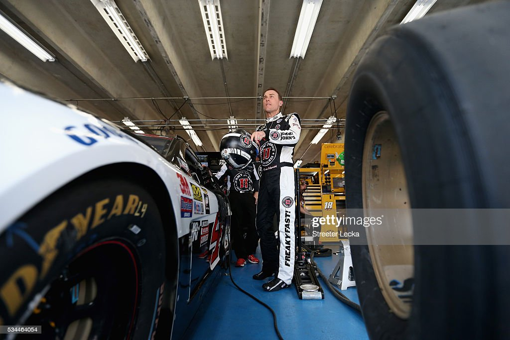 <a gi-track='captionPersonalityLinkClicked' href=/galleries/search?phrase=Kevin+Harvick&family=editorial&specificpeople=209186 ng-click='$event.stopPropagation()'>Kevin Harvick</a>, driver of the #4 Jimmy John's Chevrolet, stands in the garage area during practice for the NASCAR Sprint Cup Series Coca-Cola 600 at Charlotte Motor Speedway on May 27, 2016 in Charlotte, North Carolina.