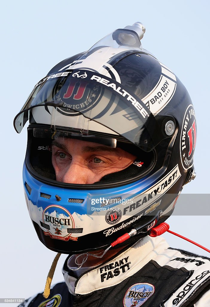 <a gi-track='captionPersonalityLinkClicked' href=/galleries/search?phrase=Kevin+Harvick&family=editorial&specificpeople=209186 ng-click='$event.stopPropagation()'>Kevin Harvick</a>, driver of the #4 Jimmy John's Chevrolet, stands on the grid during qualifying for the NASCAR Sprint Cup Series Coca-Cola 600 at Charlotte Motor Speedway on May 27, 2016 in Charlotte, North Carolina.