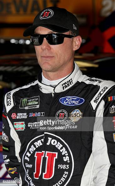 Kevin Harvick driver of the Jimmy John's Ford during practice for the NASCAR Monster Energy Cup Series Daytona 500 on February 25 at Daytona...