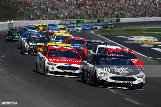 Kevin Harvick driver of the Jimmy John's Ford leads a pack of cars during the Monster Energy NASCAR Cup Series O'Reilly Auto Parts 500 at Texas Motor...