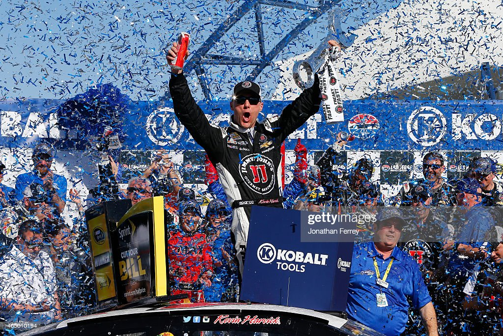 Kevin Harvick, driver of the #4 Jimmy John's/Budweiser Chevrolet, celebrates in Victory Lane after winning the NASCAR Sprint Cup Series Kobalt 400 at Las Vegas Motor Speedway on March 8, 2015 in Las Vegas, Nevada.