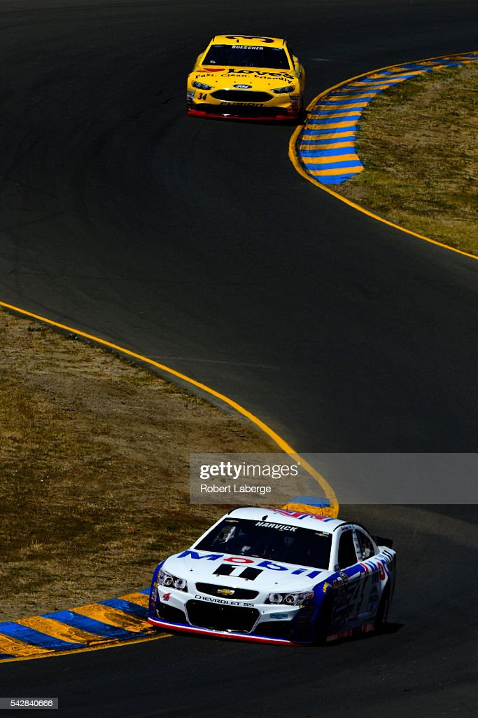 <a gi-track='captionPersonalityLinkClicked' href=/galleries/search?phrase=Kevin+Harvick&family=editorial&specificpeople=209186 ng-click='$event.stopPropagation()'>Kevin Harvick</a>, driver of the #4 Mobil 1 Chevrolet, drives during practice for the NASCAR Sprint Cup Series Toyota/Save Mart 350 at Sonoma Raceway on June 24, 2016 in Sonoma, California.