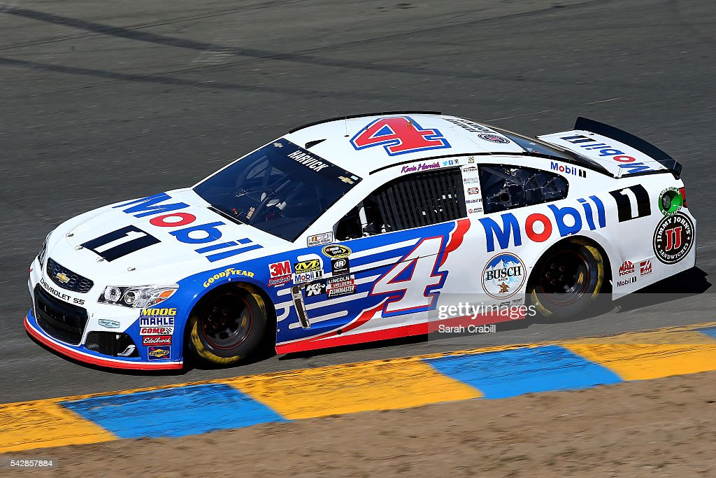 <a gi-track='captionPersonalityLinkClicked' href=/galleries/search?phrase=Kevin+Harvick&family=editorial&specificpeople=209186 ng-click='$event.stopPropagation()'>Kevin Harvick</a>, driver of the #4 Mobil 1 Chevrolet, practices for the NASCAR Sprint Cup Series Toyota/Save Mart 350 at Sonoma Raceway on June 24, 2016 in Sonoma, California.