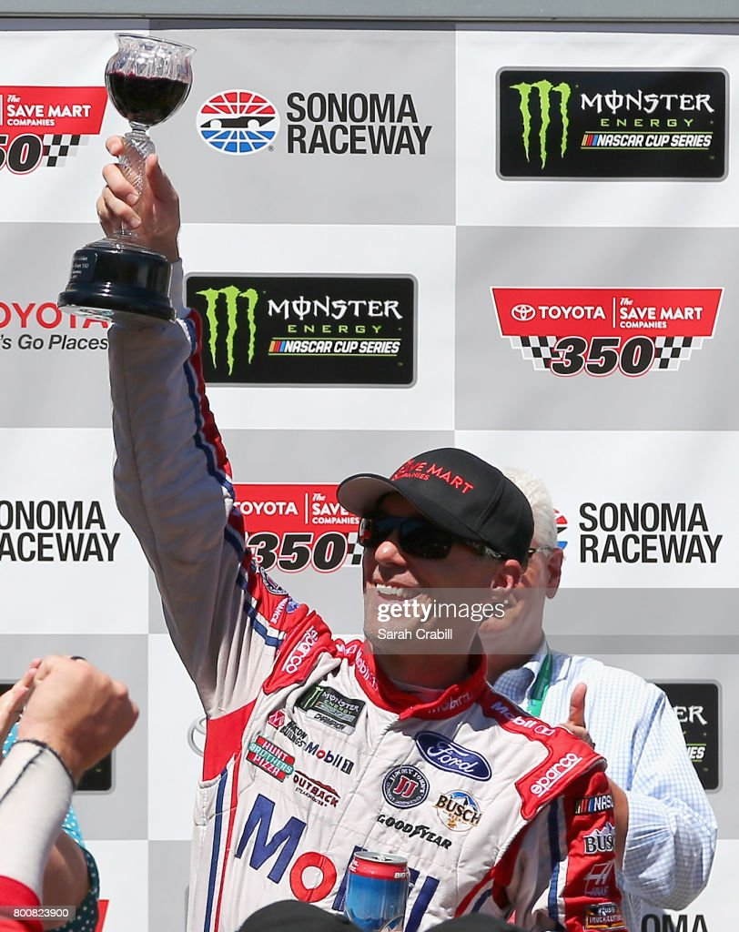 Kevin Harvick, driver of the #4 Mobil 1 Ford, celebrates in victory lane after winning the Monster Energy NASCAR Cup Series Toyota/Save Mart 350 at Sonoma Raceway on June 25, 2017 in Sonoma, California.