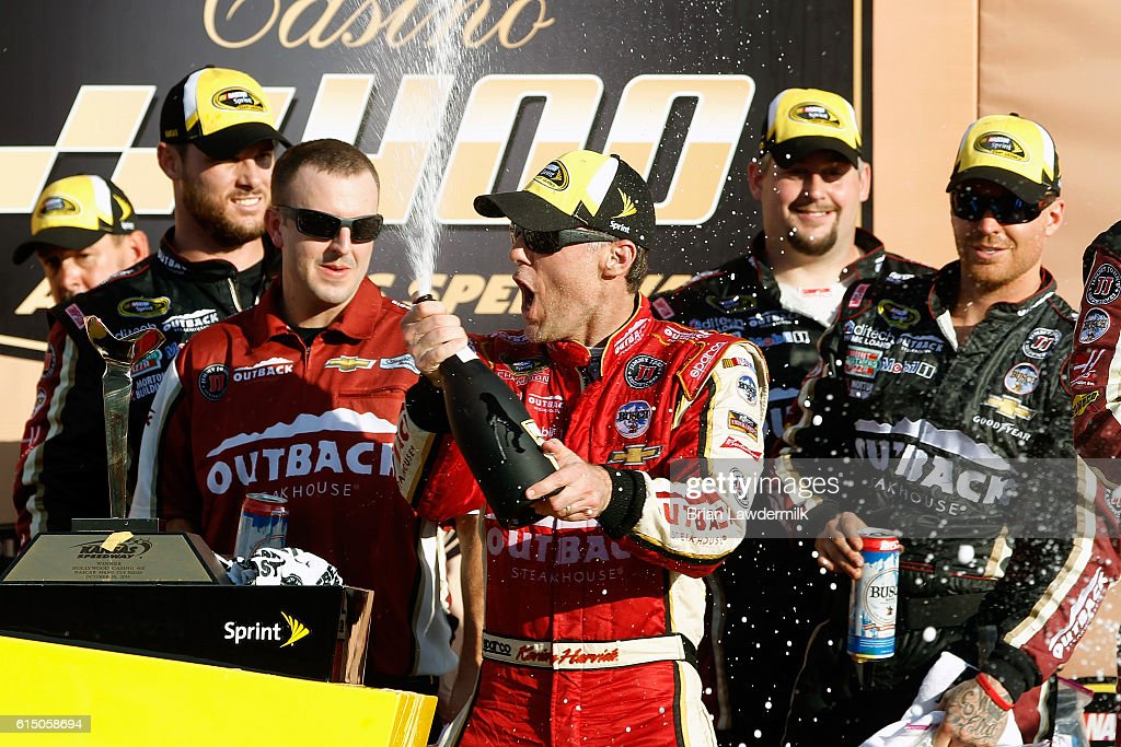 Kevin Harvick, driver of the #4 Outback Chevrolet, celebrates in Victory Lane after winning the NASCAR Sprint Cup Series Hollywood Casino 400 at Kansas Speedway on October 16, 2016 in Kansas City, Kansas.