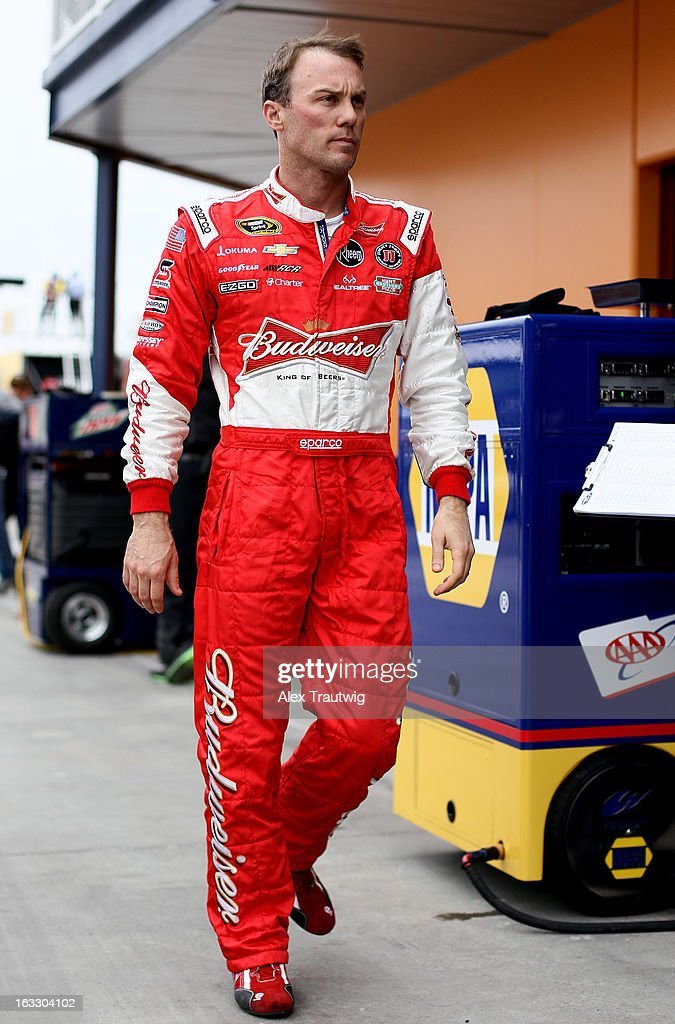 <a gi-track='captionPersonalityLinkClicked' href=/galleries/search?phrase=Kevin+Harvick&family=editorial&specificpeople=209186 ng-click='$event.stopPropagation()'>Kevin Harvick</a>, driver of the #29 Rheem Chevrolet, walks through the garage area during NASCAR Sprint Cup Series testing at Las Vegas Motor Speedway on March 7, 2013 in Las Vegas, Nevada.