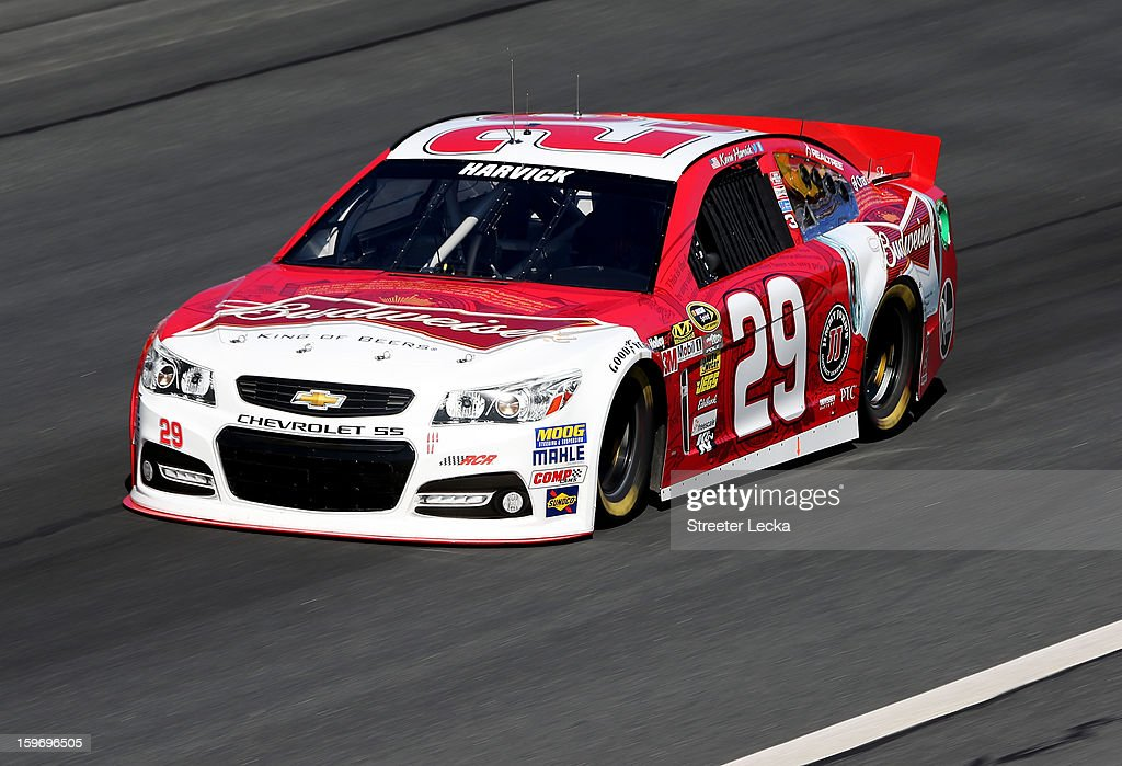 Kevin Harvick, driver of the #29 Richard Childress Racing Chevrolet, in action during NASCAR Testing at Charlotte Motor Speedway on January 18, 2013 in Charlotte, North Carolina.