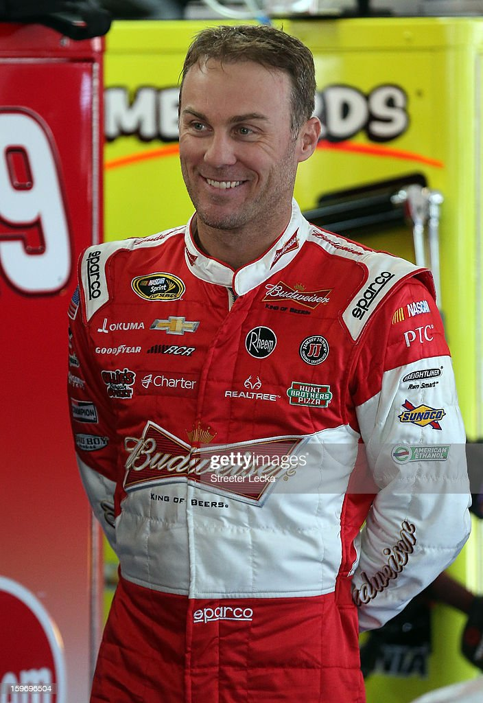 Kevin Harvick, driver of the #29 Richard Childress Racing Chevrolet, looks on in the garage during NASCAR Testing at Charlotte Motor Speedway on January 18, 2013 in Charlotte, North Carolina.