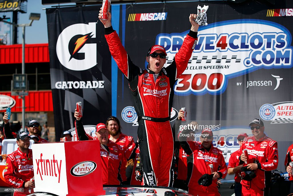 <a gi-track='captionPersonalityLinkClicked' href=/galleries/search?phrase=Kevin+Harvick&family=editorial&specificpeople=209186 ng-click='$event.stopPropagation()'>Kevin Harvick</a>, driver of the #88 taxslayer.com Chevrolet, celebrates in Victory Lane after winning the NASCAR XFINITY Series Drive4Clots.com 300 at Auto Club Speedway on March 21, 2015 in Fontana, California.