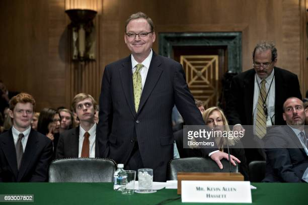 Kevin Hassett chairman of the Council of Economic Advisers nominee for US President Donald Trump waits to begin a Senate Banking Committee nomination...