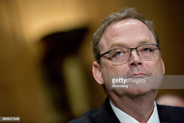 Kevin Hassett chairman of the Council of Economic Advisers nominee for US President Donald Trump listens during a Senate Banking Committee nomination...