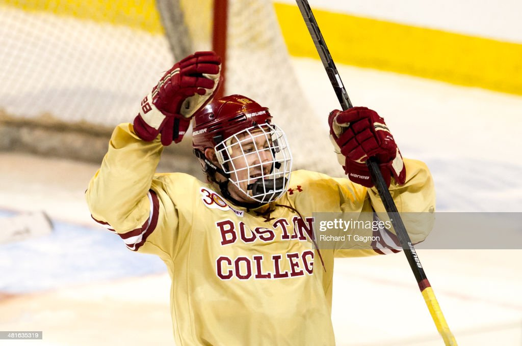 Kevin Hayes #12 of the Boston College Eagles celebrates a Eagle goal against the Massachusetts Lowell River Hawks during the NCAA Division I Men's Ice Hockey Northeast Regional Championship Final at the DCU Center on March 30, 2014 in Worcester, Massachusetts.
