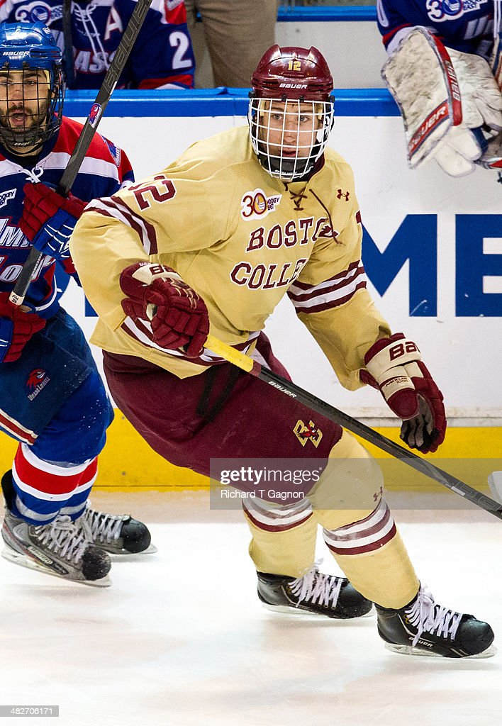 Kevin Hayes #12 of the Boston College Eagles skates against the Massachusetts Lowell River Hawks during the NCAA Division I Men's Ice Hockey Northeast Regional Championship Final at the DCU Center on March 30, 2014 in Worcester, Massachusetts.