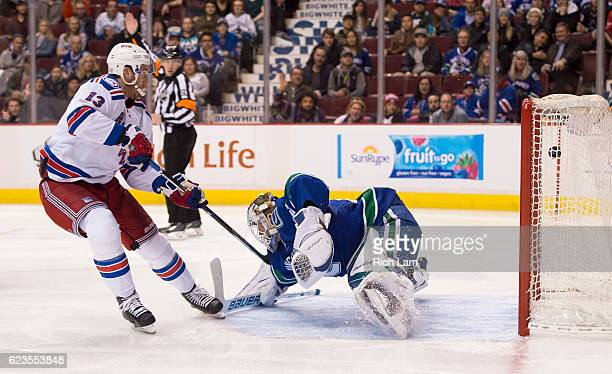Kevin Hayes of the New York Rangers scores on goalie Jacob Markstrom of the Vancouver Canucks during the third period in NHL action on November 15...
